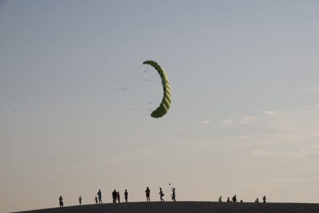 Kite flying at sunset
